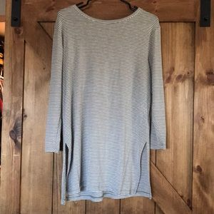 Super soft & stretchy sage and cream striped tunic